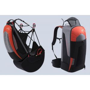 Harness & Rucksack modes (optional extras airbag and comfortable rucksack waist strap shown not included)