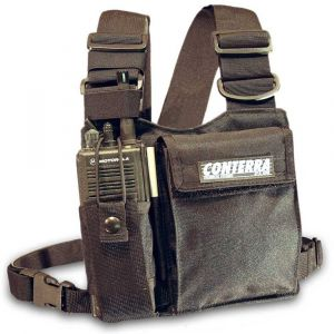 Conterra Adjusta-Pro Radio Chest Harness, shown with larger radio mounted. Radio not included.