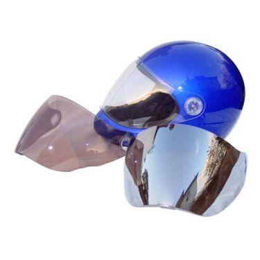 Icaro SkyRunner with clear, tinted brown & mirror visors. Original old helmet, visors & fixings shown.