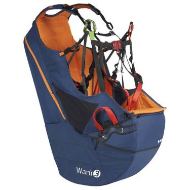 Woody Valley Wani 3 reversible paragliding harness-rucksack in harness mode in Blue-Orange colours