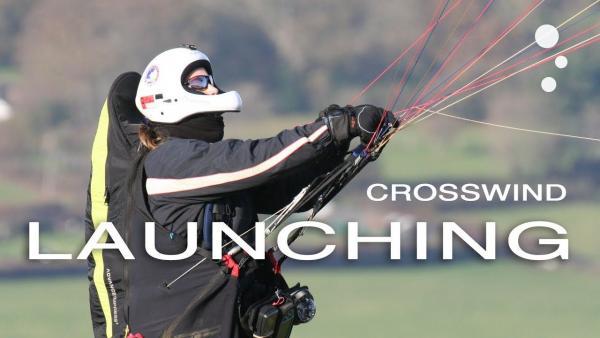 Paraglider Control: Crosswind Launching