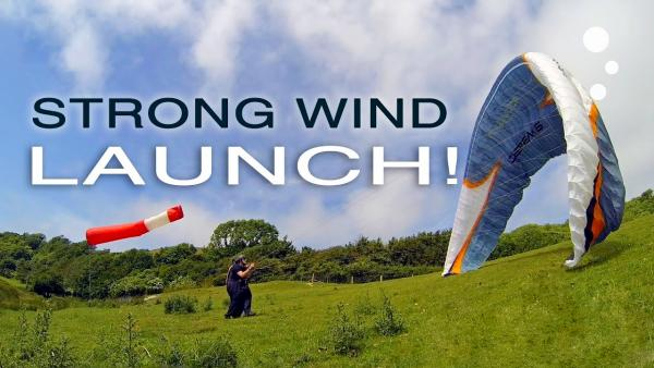 Paraglider Control: Strong Wind Launching