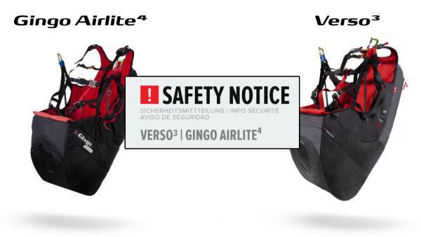 Safety Notice: Gin Gingo Airlite 4 + Verso 3