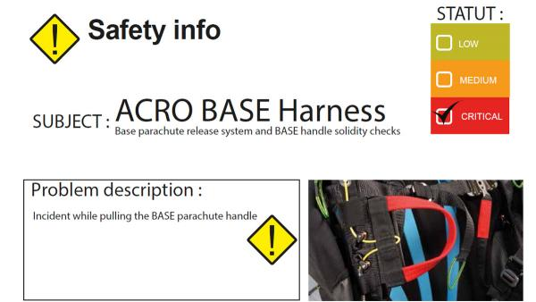 Safety Notice: Supair ACRO BASE
