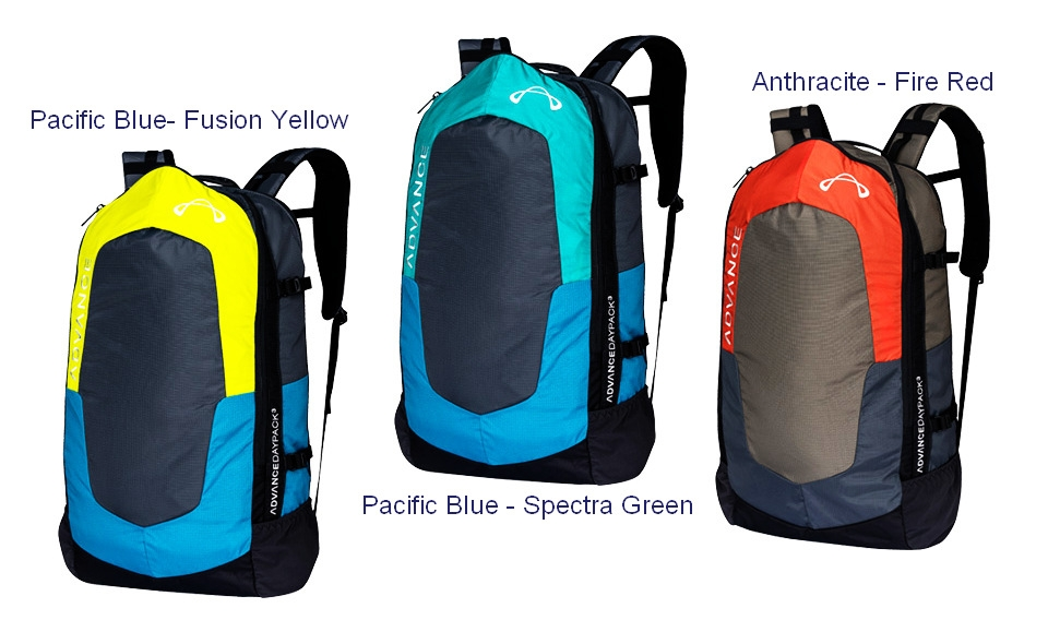 Advance DAYPACK 3 colours: Pacific Blue-Fusion Yellow, Pacific Blue-Spectra Green, Anthracite-Fire Red