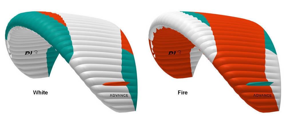 Advance PI 3 standard colours: White, Fire - Flybubble