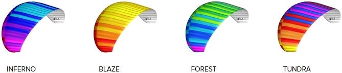 BGD SEED standard colours: Inferno, Blaze, Forest, Tundra