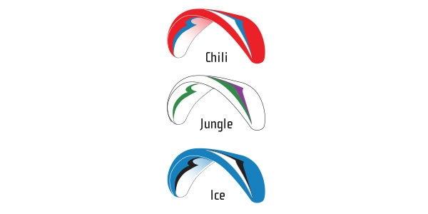 Standard colours: Chili, Jungle, Ice