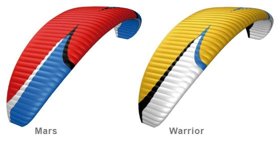 Standard colours: Mars (Red-Blue), Warrior (Gold-White)