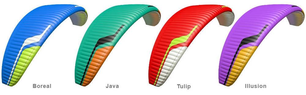 Niviuk Takoo 5 standard colours: Boreal, Java, Illusion, Tulip.
