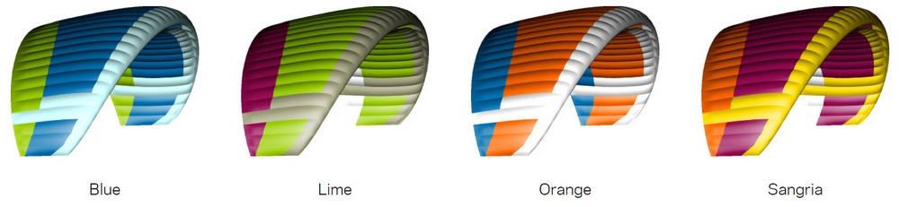 Nova PRION 5 standard colours: Blue, Lime, Orange, Sangria.