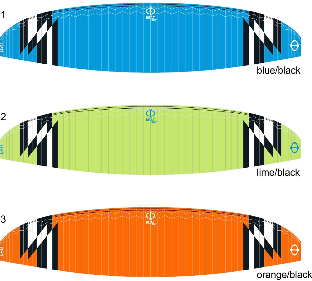 Phi BEAT light standard colours: CC 01 Blue-Black, CC 02 Lime-Black, CC 03 Orange-Black.
