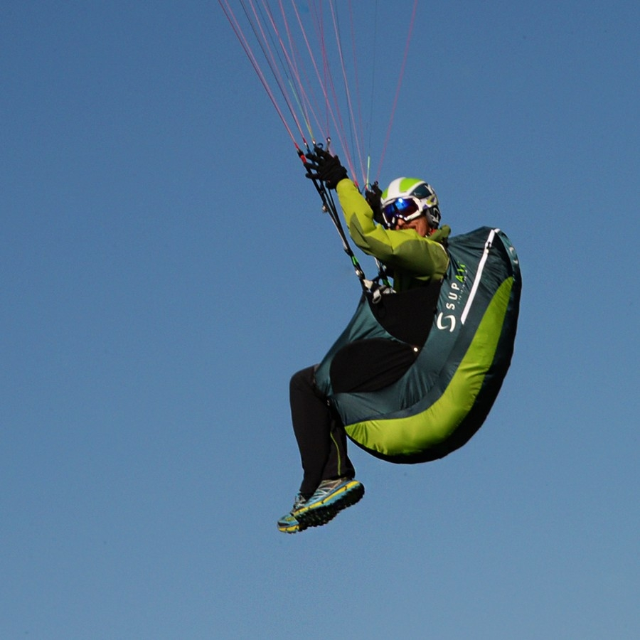 Supair EVO LITE paragliding harness in flight