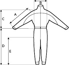 Sizing diagram | Supair Classic Flying Suit