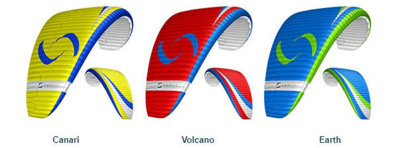 Supair LEAF 2 standard colours: Canari (yellow), Volcano (red) and Earth (blue)