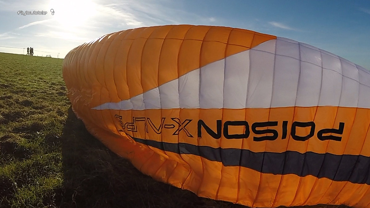 Skywalk Poison Xalps review - wing on the ground