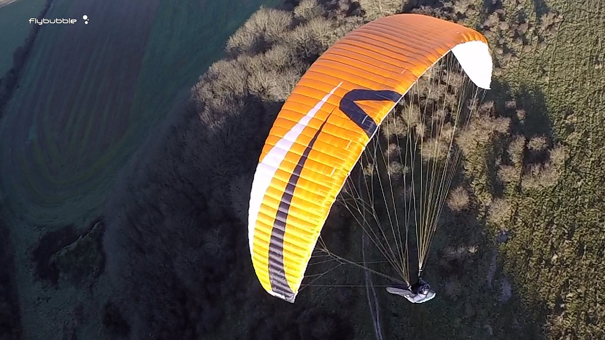 Skywalk Poison Xalps review - top surface in flight