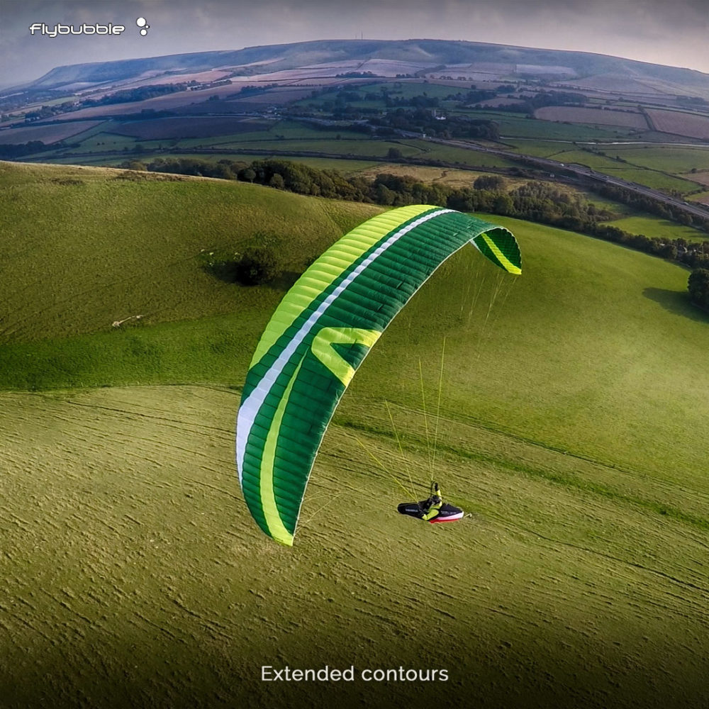 Paragliding along the extended contours