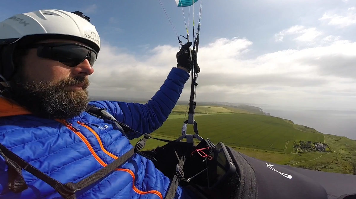 Ben bought a new paragliding harness from Flybubble