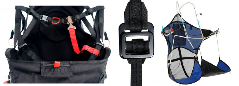 Paragliding harness buckles