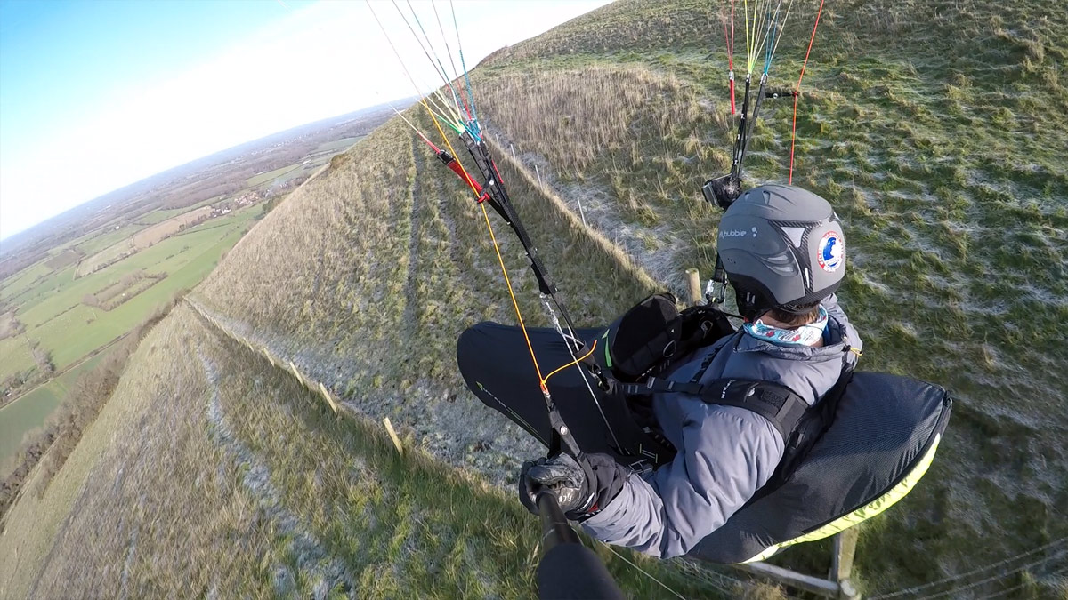 Supair DELIGHT 2 paraglider harness review: trailing shot