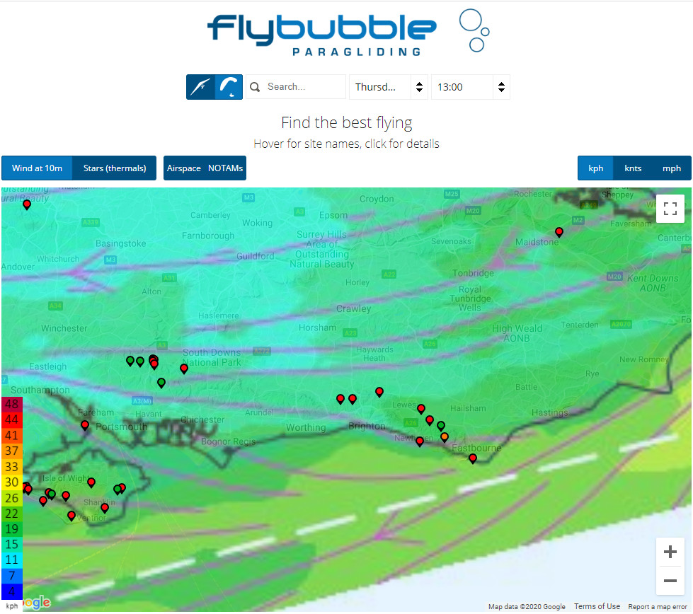 Overview screen | Flybubble Weather free flying soaring forecast