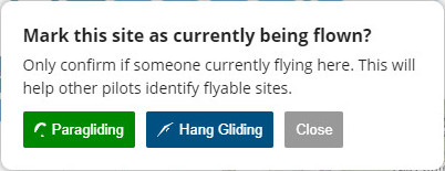 Site currently being flown (Paragliding) - Flybubble Weather