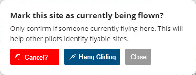Cancel site currently being flown - Flybubble Weather