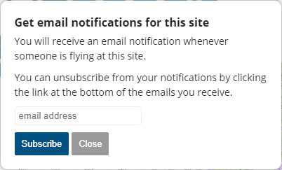 Get email notifications for this site - Flybubble Weather