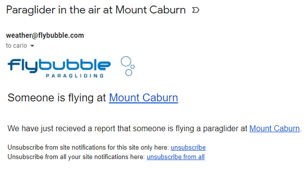 Paraglider in the air at Mount Caburn - Flybubble Weather