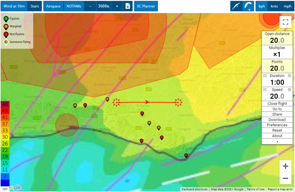 XC Planner route - Flybubble Weather