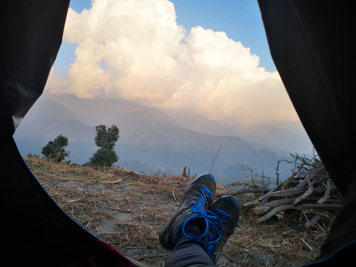Paragliding Bir (Himalaya): big clouds