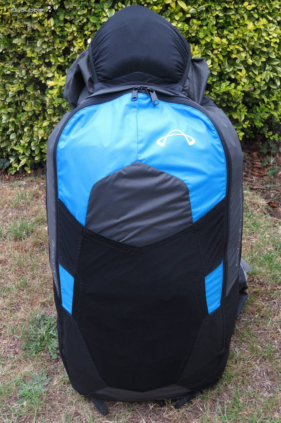 The rucksack with helmet on top - Advance EASINESS 3 paragliding harness review by Flybubble