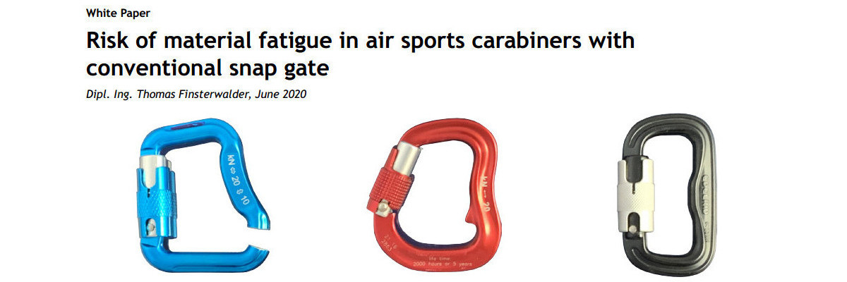 Finsterwalder Risk of material fatigue in air sports carabiners with conventional snap gate