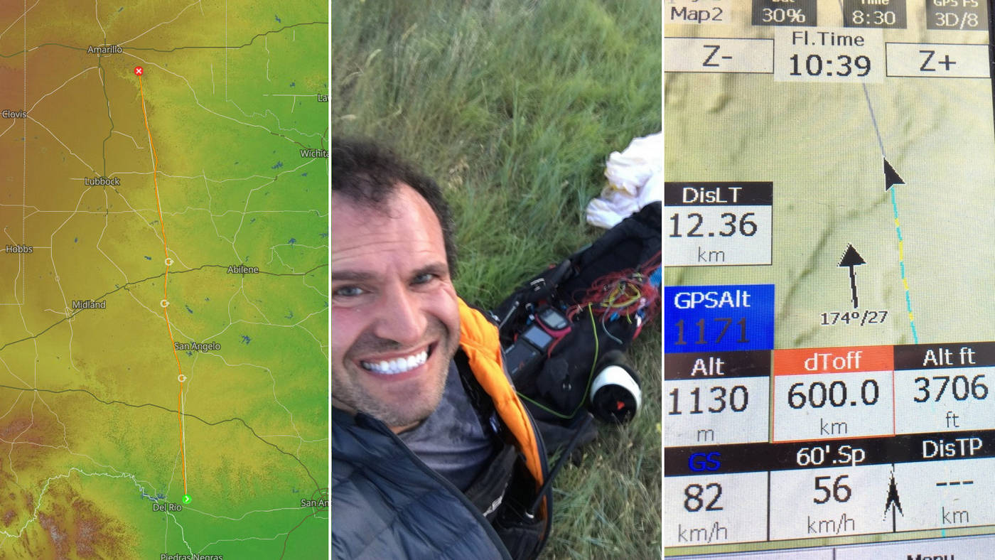 first paraglider flight over 600km and a new world distance record 615km (382 miles)