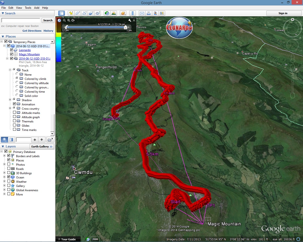 Leonardo detailed tracklog in Google Earth