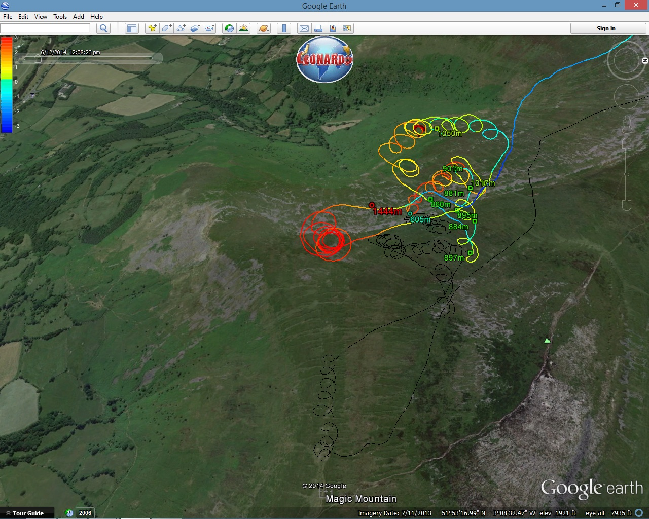 Google Earth paragliding tracklog in detail