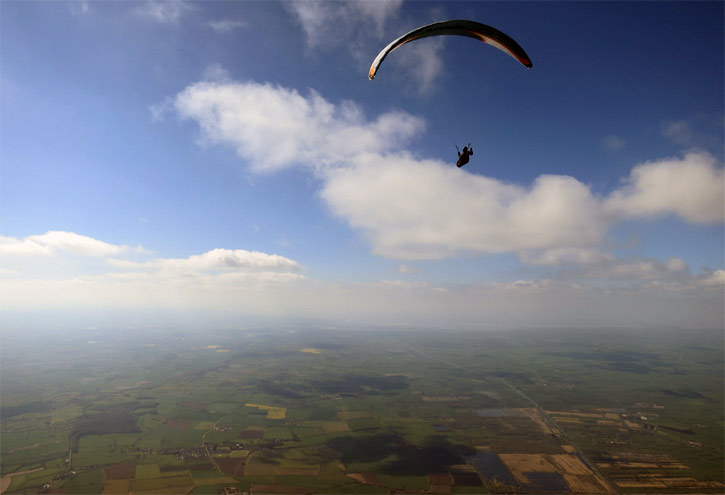 The sky was fantastic on the Leckhampton day: Greg Hamerton glides on