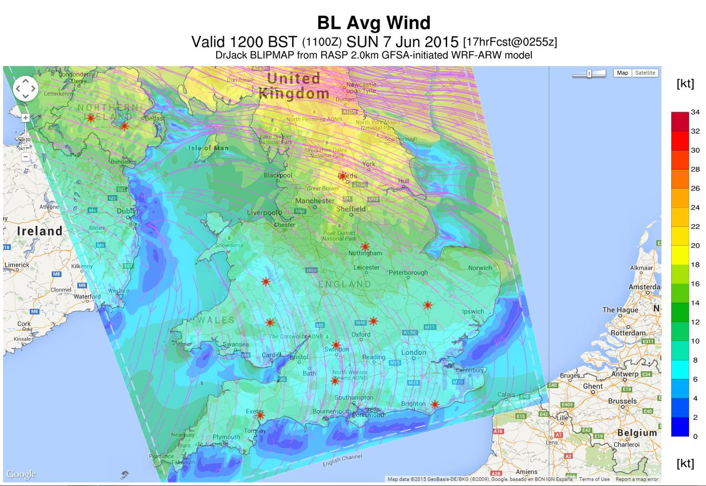 RASP average wind forecast
