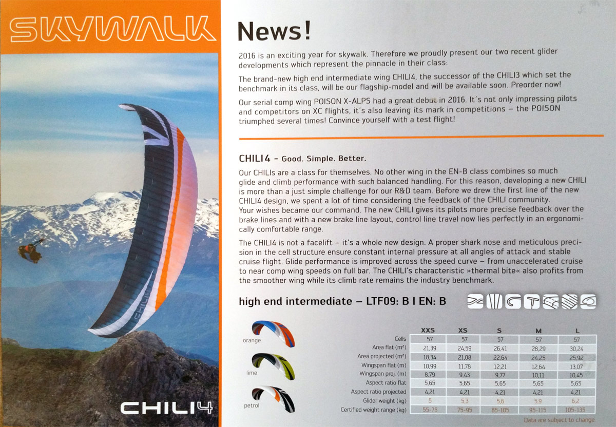 Skywalk Chili 4 specs