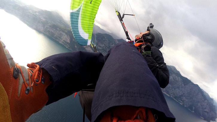 Acro paragliding on a freestyle wing