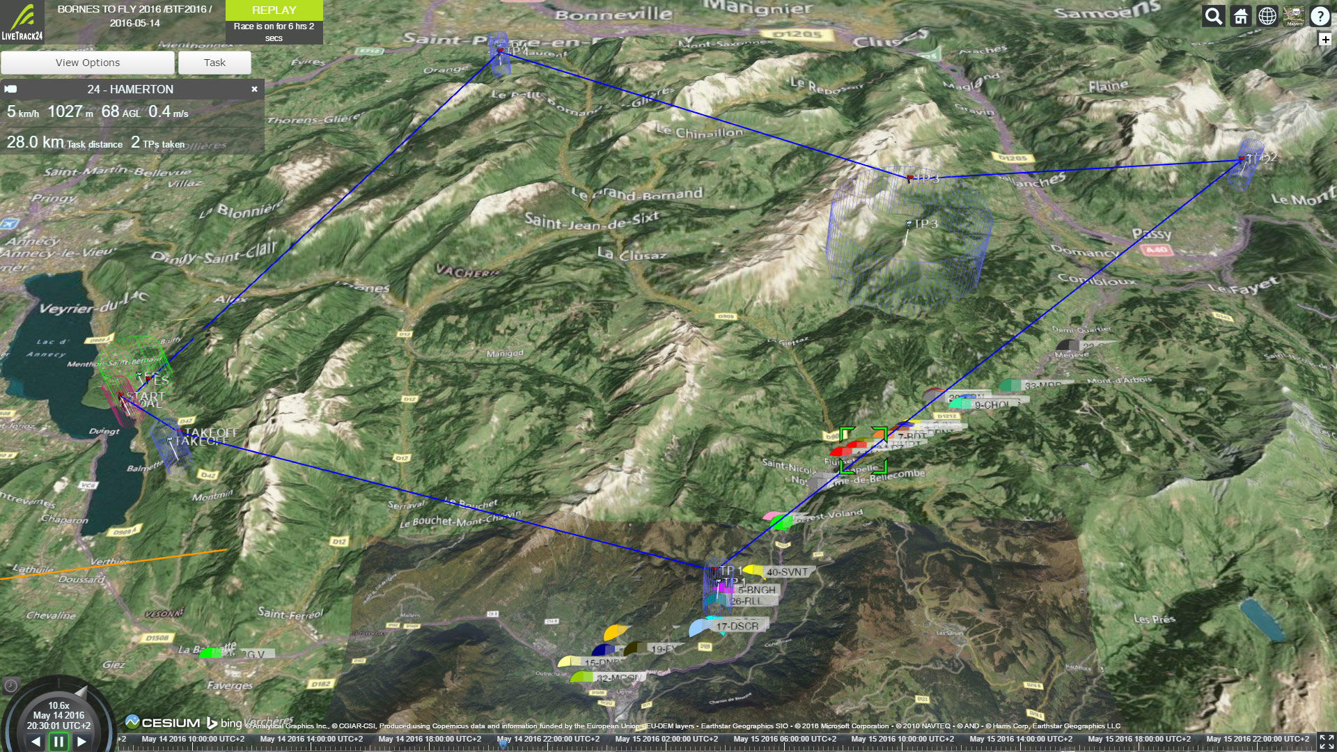 Bornes to Fly route overview at end of day 1