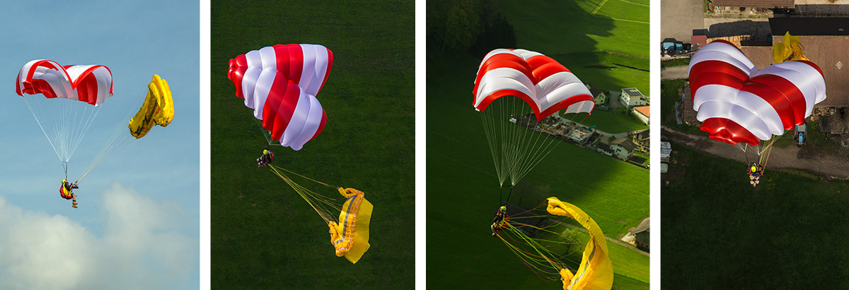 Paragliding reserve parachute guide: steerable / Rogallo